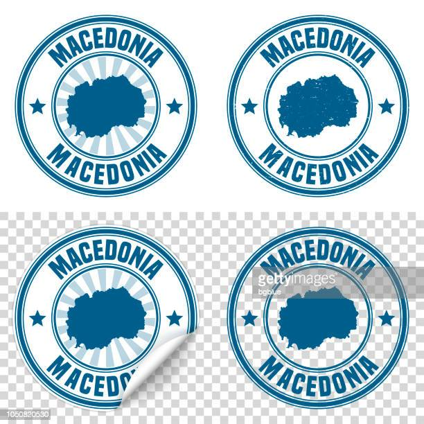 macedonia - blue sticker and stamp with name and map - macedonia country stock illustrations