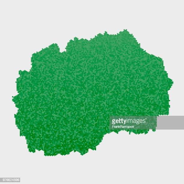 Macedonia Country Map Green Hexagon Pattern