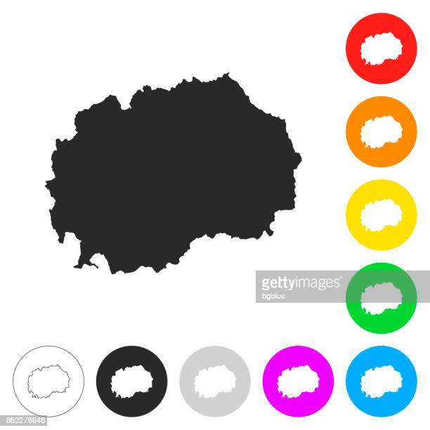 Macedonia map - Flat icons on different color buttons