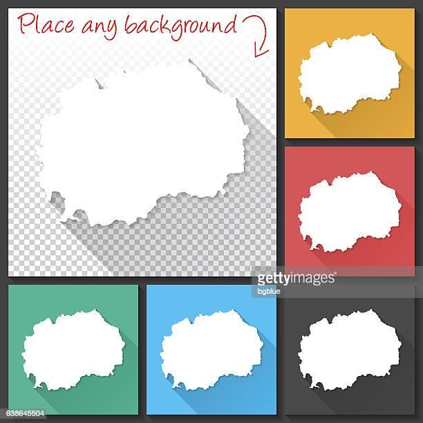 Macedonia Map for design, Long Shadow, Flat Design