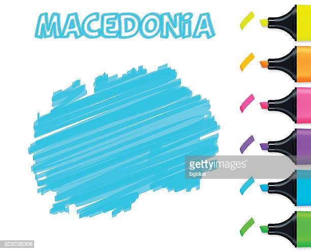 Macedonia map hand drawn on white background, blue highlighter