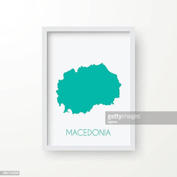 Macedonia Map in Frame on White Background
