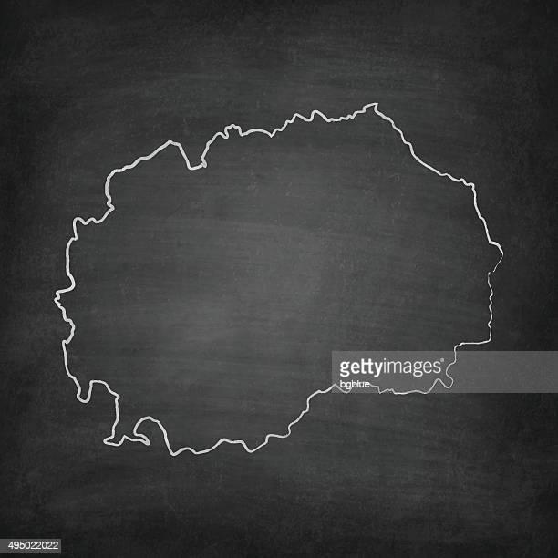 Macedonia Map on Blackboard - Chalkboard
