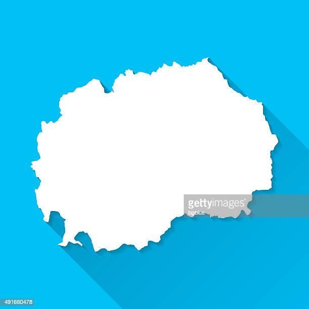 Macedonia Map on Blue Background, Long Shadow, Flat Design
