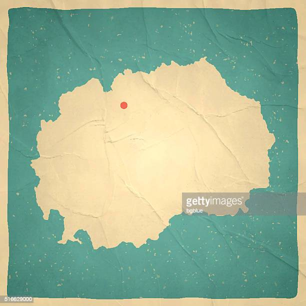 Macedonia Map on old paper - vintage texture