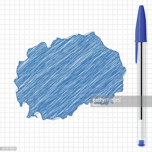 Macedonia map sketch on grid paper, blue pen