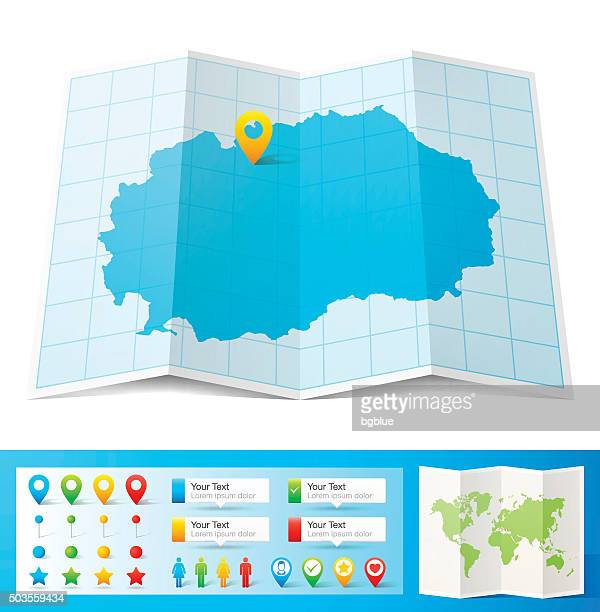 Macedonia Map with location pins isolated on white Background