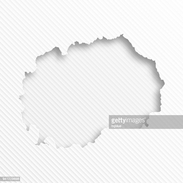 Macedonia map with paper cut on abstract white background