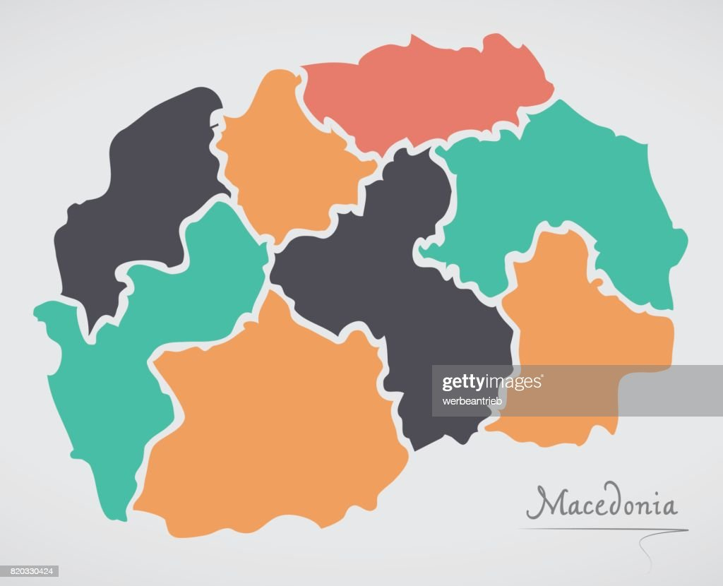 Macedonia map with states and modern round shapes vector art getty macedonia map with states and modern round shapes vector art gumiabroncs Choice Image