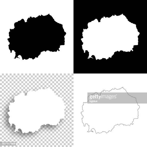 Macedonia maps for design - Blank, white and black backgrounds