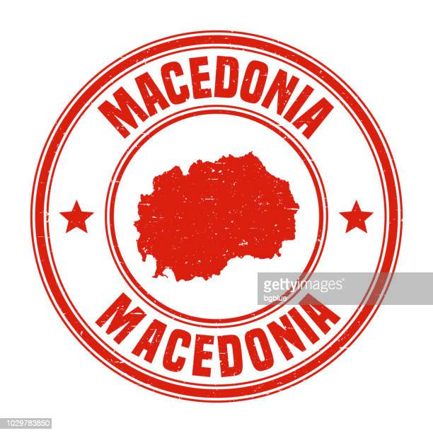 macedonia - red grunge rubber stamp with name and map - macedonia country stock illustrations