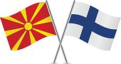 Macedonian and Finnish flags. Vector.