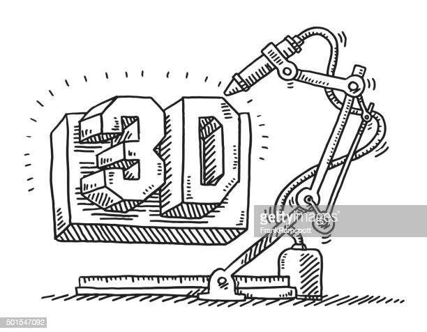 Machine 3D Printing Technology Drawing