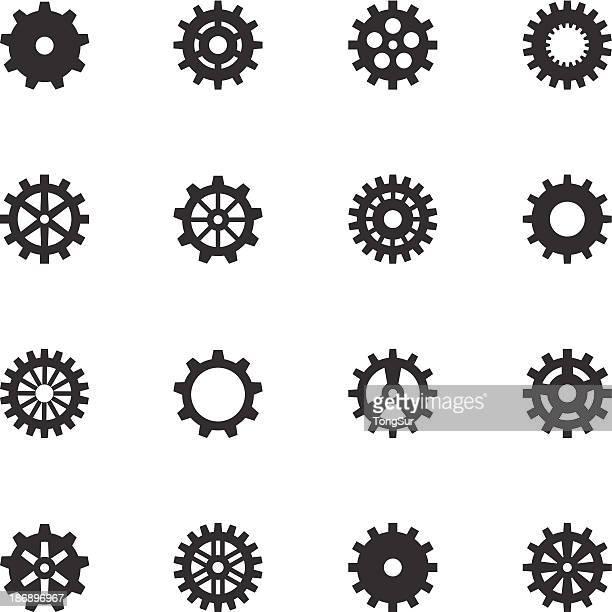 Machine Gear Wheel Icons - Black Series