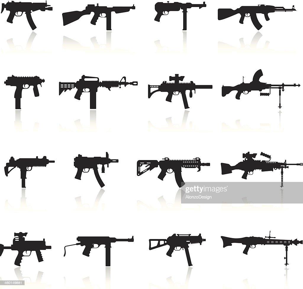 Machine Gun grupo de iconos : Ilustración de stock
