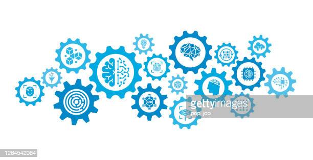 machine learning and artificial intelligence - gears mechanism abstract background concept - vector stock illustration - machine learning stock illustrations