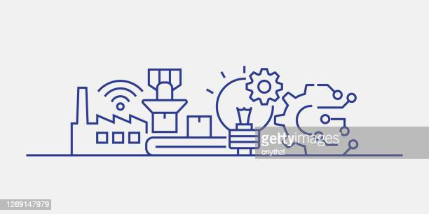 machine learning and technology related web banner line style. modern linear design vector illustration for web banner, website header etc. - deep learning stock illustrations