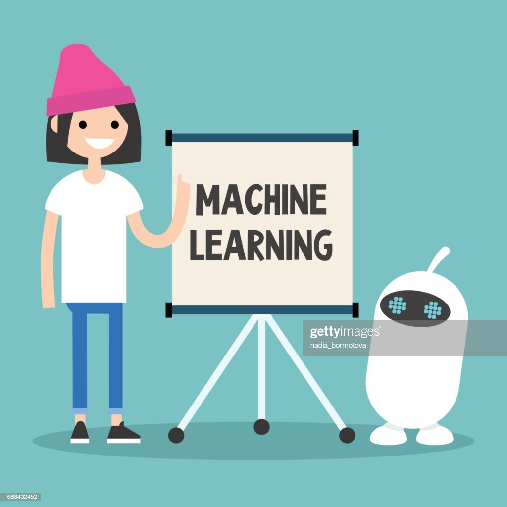 Machine learning conceptual illustration. Young female character teaching small white robot / flat editable vector illustration, clip art