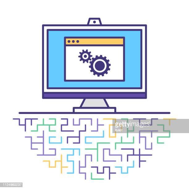 machine learning flat line icon illustration - machine learning stock illustrations