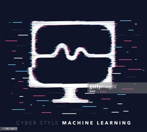 ilustraciones, imágenes clip art, dibujos animados e iconos de stock de máquina de aprendizaje falla efecto vector icono ilustración - sistema operativo