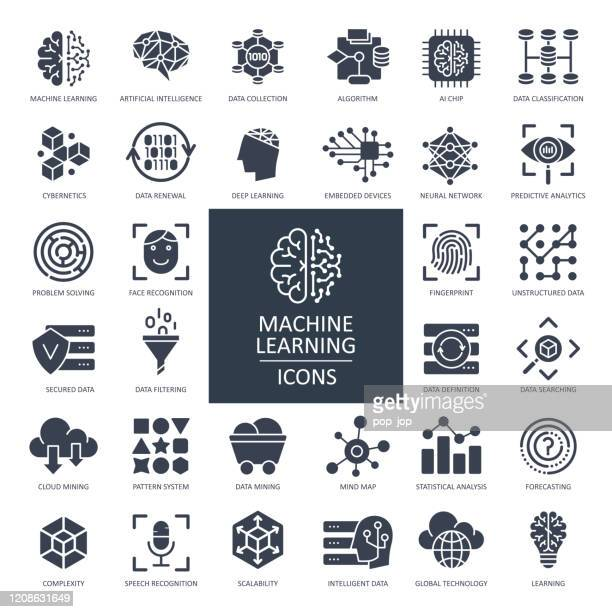 machine learning glyph icons - vector - cryptocurrency mining stock illustrations