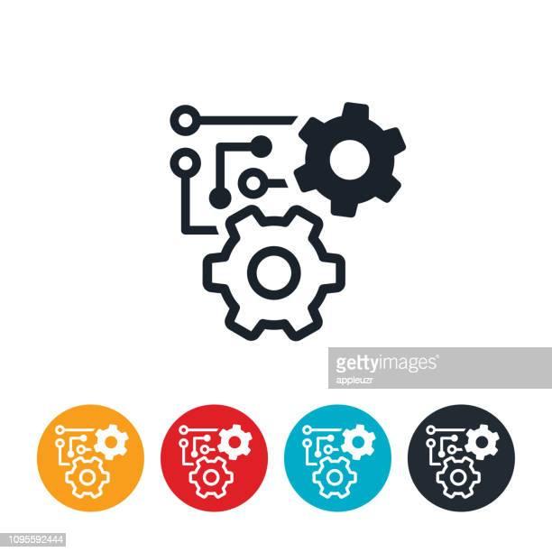 machine learning icon - machine learning stock illustrations