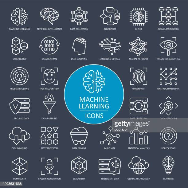 machine learning line icons - vector - big data white stock illustrations