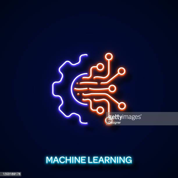 machine learning neon style, design elements - machine learning stock illustrations