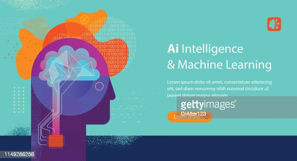 machine learning web banner template - machine learning stock illustrations