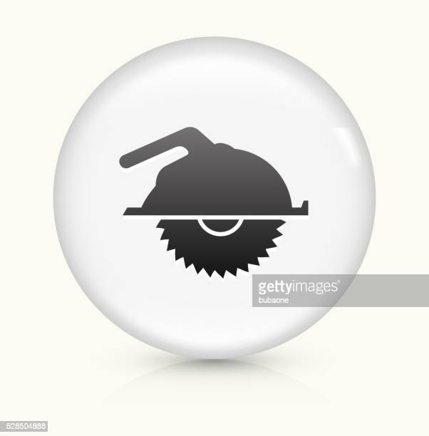 machine saw icon on white round vector button - power tool stock illustrations, clip art, cartoons, & icons