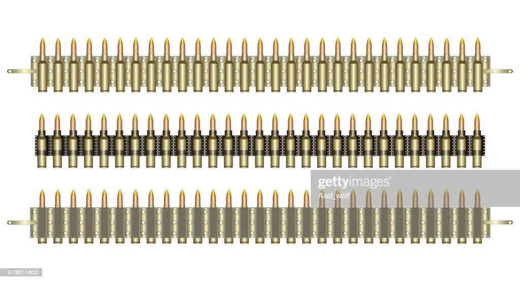 Machine-gun belts, ammo, isolated on white, vector