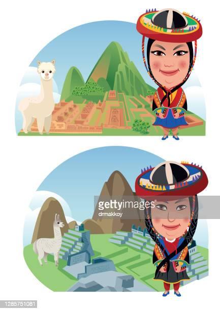 machu picchu and peruvian woman - machu picchu stock illustrations