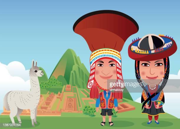 machu picchu, peruvian woman and man - machu picchu stock illustrations