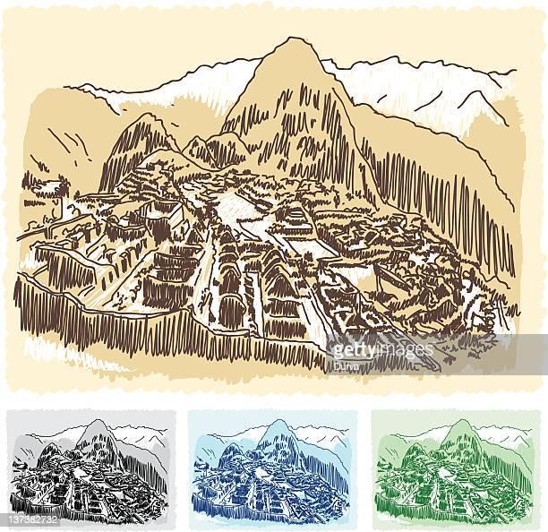 ilustraciones, imágenes clip art, dibujos animados e iconos de stock de machu picchu boceto - machu picchu