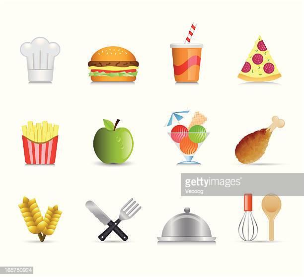 ilustraciones, imágenes clip art, dibujos animados e iconos de stock de maco conjunto de iconos de comida y cocina - pollo asado