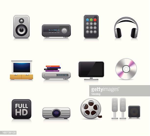 maco icon set | home cinema - amplifier stock illustrations, clip art, cartoons, & icons