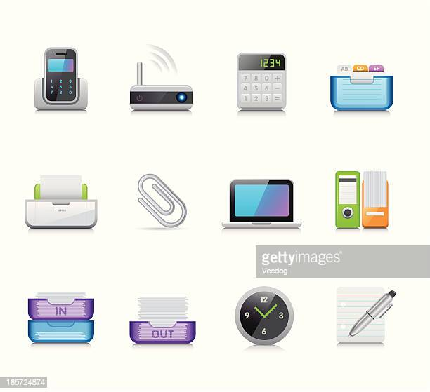 maco icon set | office - outbox filing tray stock illustrations