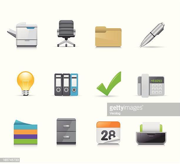 maco icon set | office - photocopier stock illustrations, clip art, cartoons, & icons