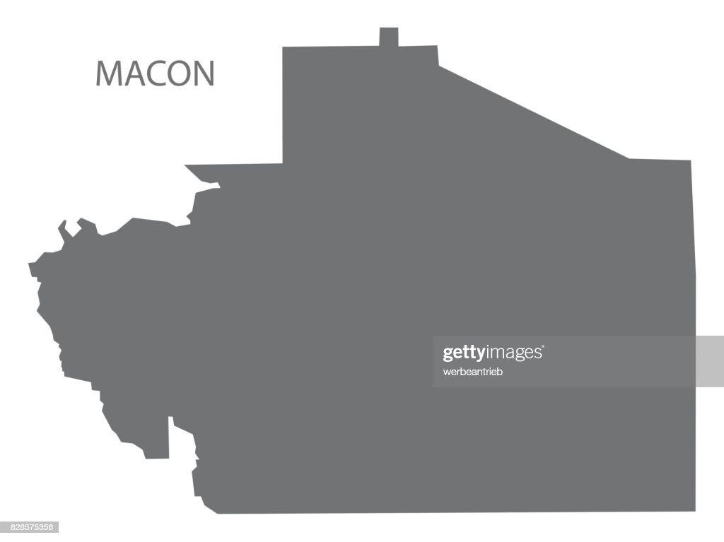 Macon county map of Alabama USA grey illustration silhouette