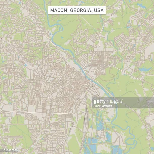 macon georgia us city street map - georgia stock illustrations, clip art, cartoons, & icons