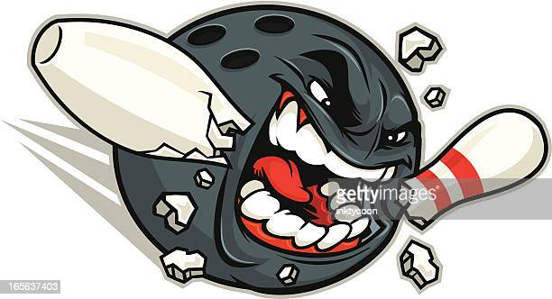 mad bowler mascot - bowling ball stock illustrations, clip art, cartoons, & icons