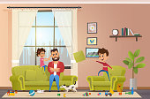 Mad Father at Home with Naughty Children Vector