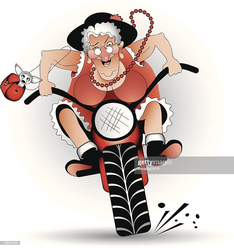 mad grandma on bike