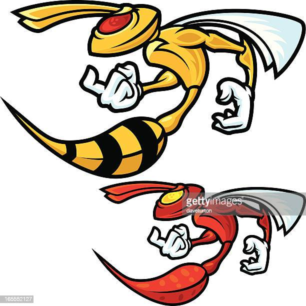 mad hornet profile - fighting stance stock illustrations, clip art, cartoons, & icons