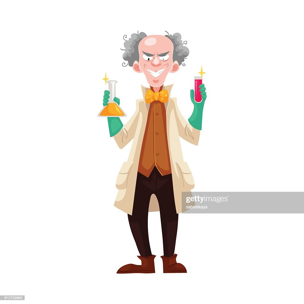 Mad professor in lab coat and green rubber gloves