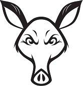 Mad Wild Aardvark Cartoon Illustration