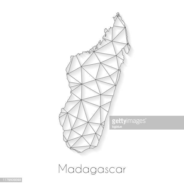 madagascar map connection - network mesh on white background - antananarivo stock illustrations, clip art, cartoons, & icons