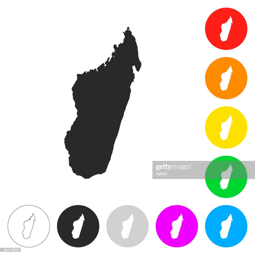 Madagascar map - Flat icons on different color buttons : Stock Illustration
