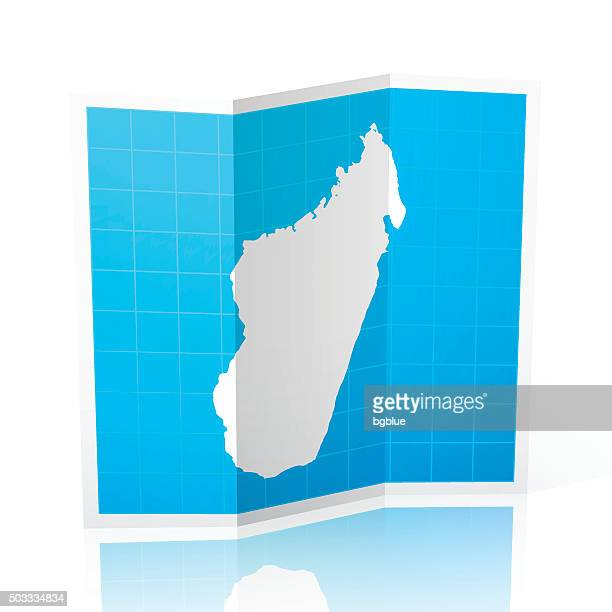 madagascar map folded, isolated on white background - antananarivo stock illustrations, clip art, cartoons, & icons