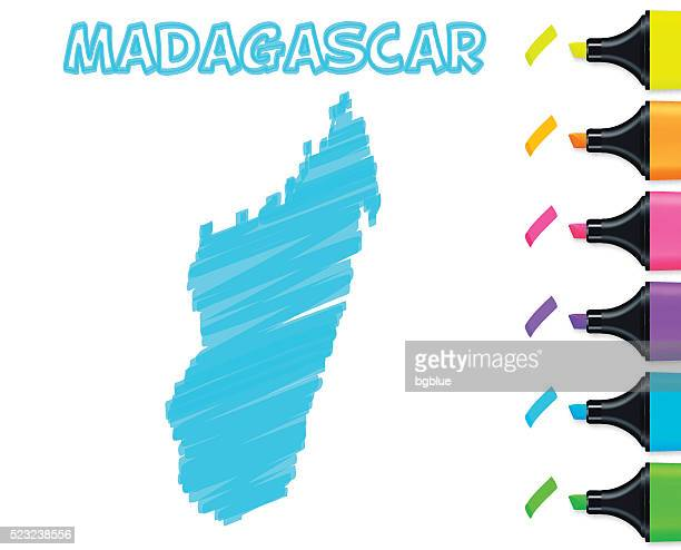 madagascar map hand drawn on white background, blue highlighter - antananarivo stock illustrations, clip art, cartoons, & icons